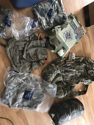 Gap Kids Camouflage Camping Items - All New! Large duffel bag, sleeping bag and backpack are $15 each, towel and toiletries bag are $10 and thermos & for Sale in Raleigh, NC