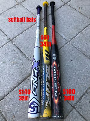 Softball bats equipment gloves gear Easton mizuno Louisville slugger Rawlings for Sale in Culver City, CA