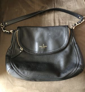 Black leather Kate Spade bag with striped lining for Sale in Seattle, WA