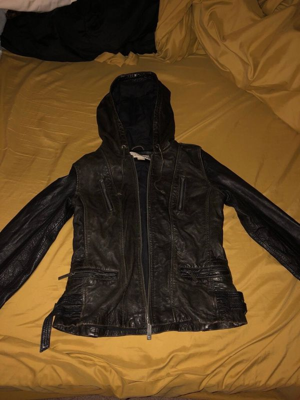 Brown leather jacket with hoodie