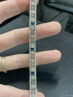 Belais 10K Art Deco White Gold and Sapphire Filigree Bracelet for Sale in Baytown,  TX