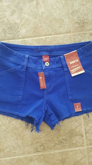 Brand new with tags trendy royal blue shorts size 7 juniors girls womens for Sale in Winston-Salem, NC