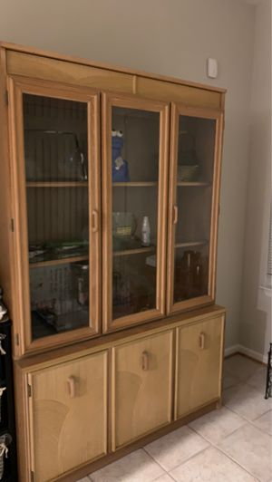 Light wood china cabinet with bottom storage for Sale in Edgewater, MD