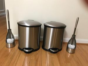 Stainless step open trash can with Toilet brush and holder set of 2 for Sale in Vienna, VA