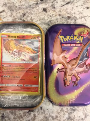 Pokemon cards shining ho oh promo card sun and moon shining legends gx ultrarare hyperrare secretrare brand new in package and charizard collectible for Sale in Boca Raton, FL