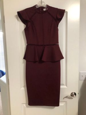 Peplum Cocktail Dress (maroon) for Sale in Wixom, MI