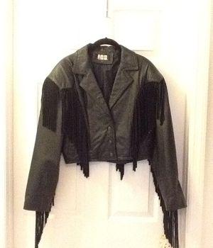 Ladies size medium Leather fringed biker jacket/ leather coat/ fashion coat for Sale in Brandon, FL