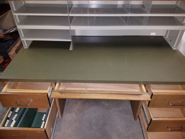 Drexel solid oak desk and organizer type piece