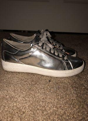 Michael Kors Metallic Silver Sneakers size 7.5 women's for Sale in Taylorsville, UT
