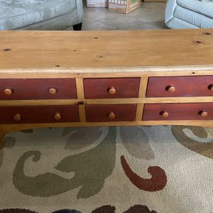 Knotty Pine Rustic Wooden Coffee Table With 6 Storage Drawers for Sale in Cave Creek, AZ