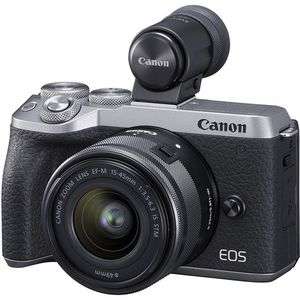 Canon EOS M6 Mark II Mirrorless Digital Camera with 15-45mm Lens and EVF-DC2 Viewfinder (Silver) for Sale in Bolingbrook, IL