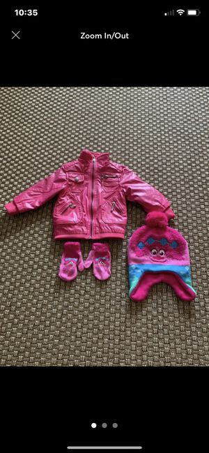 Like New Pink Vogue Jacket & DreamWorks Trolls Beanie/Gloves Age 2 for Sale in Carlsbad, CA