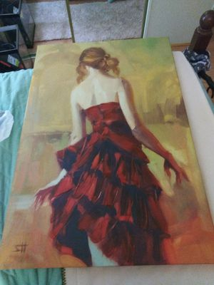 House of Hampton 'Girl in a Copper Dress' Painting Print on Canvas for Sale in Palm Beach Shores, FL