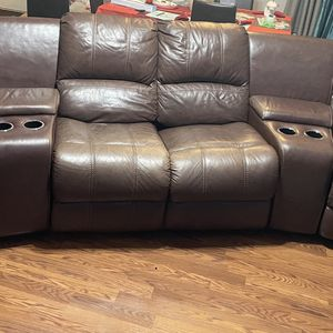 Must Sell!! Asap Brown Leather Couch Double Recliner for Sale in Lilburn, GA