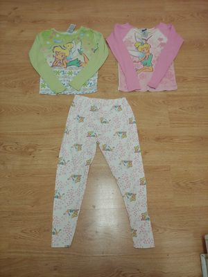 Like new girl size 12 Disney Tinkerbell matching 3 piece pajamas set from Disney Store for Sale in New Port Richey, FL