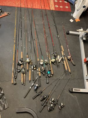 Lot of fishing rods, fishing lures and accessories for Sale in Chicago, IL