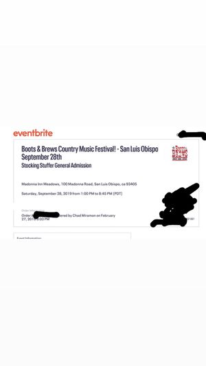 $75 for 2 Boots & Brews tickets for Sale in Atascadero, CA