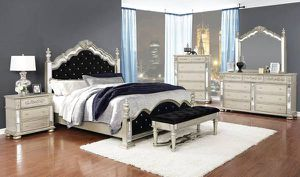 4PC QUEEN BEDROOM SET: QUEEN BED FRAME, DRESSER, MIRROR, NIGHTSTAND for Sale in Bakersfield, CA