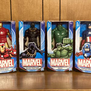 Brand New Set Of 4 Marvel Comics AVENGERS 6 Inch Action Figure Doll Toys - Hulk - Ironman - Black Panther - Captain America !!! for Sale in Plainfield, IL