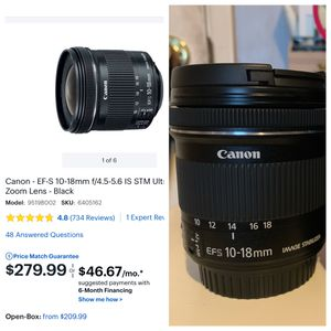 Canon 10-18mm lens for Sale in Long Beach, CA