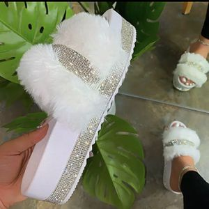 New Rhinestone with Fur Slides for Sale in Smyrna, GA
