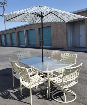8 piece outdoor patio set furniture with brand new patio umbrella 🔥🔥🔥 FREE DELIVERY WITHIN 5 MILES 👍 for Sale in Las Vegas, NV