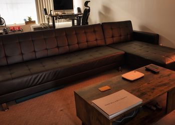 Couch Futon Sectional Faux Leather for Sale in Los Angeles,  CA