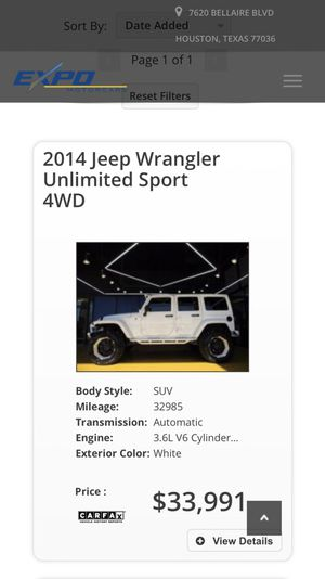 2014 Jeep Wrangler Unlimited sport for Sale in Houston, TX