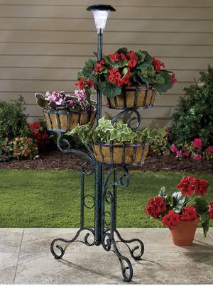 Decorative Three Planter/Plant Holder With Solar Lantern Light for Sale in Bowie, MD