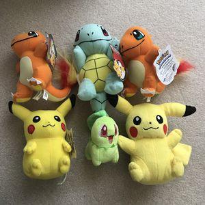 Pokemon plush stuffed animals pikachu charmander squirtle chikorita for Sale in Burtonsville, MD