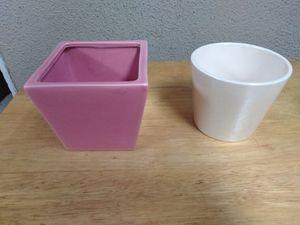 "2 - Nice Mini Ceramic Flower Pots - Size 3.5"" Tall for Sale in Fullerton, CA"