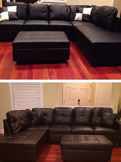 Leather Sectional Couch And Ottoman for Sale in Vancouver,  WA