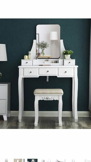 Vanity Table Set with Large Frameless Mirror, Makeup Dressing Table Set for Bedroom, Bathroom, 5 Drawers and 1 Removable Storage Box, Cushioned Stool for Sale in Corona, CA