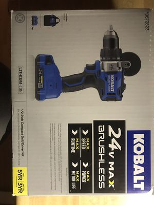 NEW NEVER USED KOBALT 24V MAX BRUSHLESS DRILL DRIVER SET RETAILS FOR 179.00 PLUS TAX 125.00 BUYS IT. for Sale in Nineveh, IN
