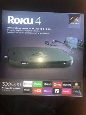 Genuine Roku 4 4400r 4K UHD Streaming Media Player new factory sealed for Sale in Las Vegas, NV