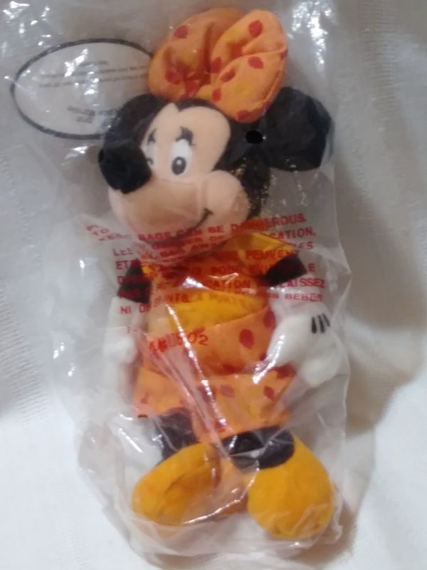 "Disney Store Minnie Mouse November Topaz Birth Stone Birthstone Plush Bean Bag Doll with Necklace 18"" Chain"