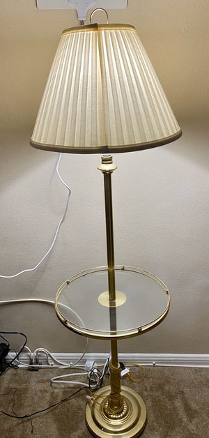 Vintage floor lamp with white shade and round glass table. for Sale in Long Beach, CA