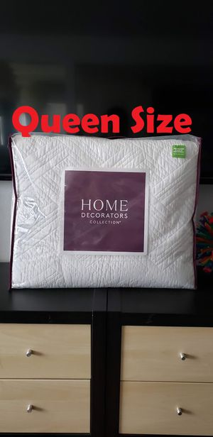 New Queen Quilt Comforter Blanket Set. Ivory white color Soft and versatile 100% cotton - LUXURIOUS Quality for Sale in Ventura, CA