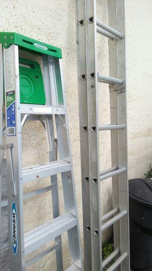 "(2) Aluminum ladders one 6ft & 12 ft.extends to 18"" for Sale in Azalea Park, FL"