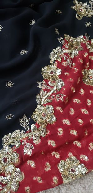 Red Black Gold Embellished Sari Saree Indian Pakistani Clothing Outfit Fabric for Sale in Bristol, CT