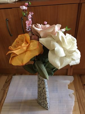 Three big handmade decorative flowers with pink plastic flowers with vase for Sale in San Jose, CA