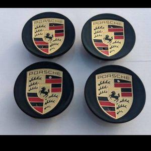 Gloss Black Porsche caps wheel rim center Cap 76mm 3 inch diameter BRAND NEW SET OF 4 gloss black color for Sale in Huntington Beach, CA