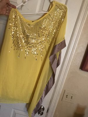 Bebe bright yellow/silver one shoulder dress for Sale in Scottsdale, AZ