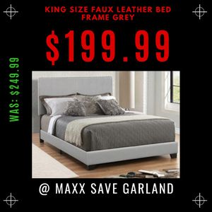 King size faux leather bed frame grey for Sale in Garland, TX