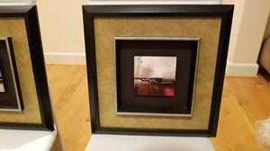 Two abstract framed wall art pictures from Bad Bath and Beyond for Sale in Bellevue, WA