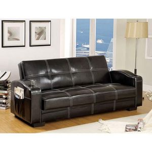 BLACK BONDED LEATHER FUTON SOFA ADJUSTABLE BED CUP HOLDERS / SILLON CAMA for Sale in Escondido, CA