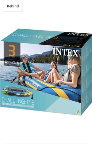Intex Challenger 3 inflatable boat and Trolling motor for Sale in Naperville, IL
