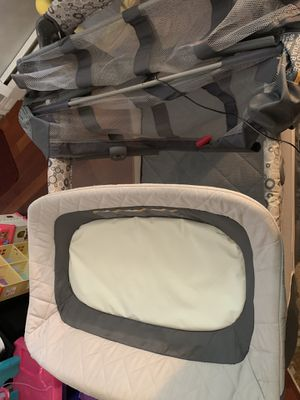 Graco playpen with bassinet and changing table. All original things included as well as an extra sheet. Can include covers for changing table for add for Sale in Windsor, CT