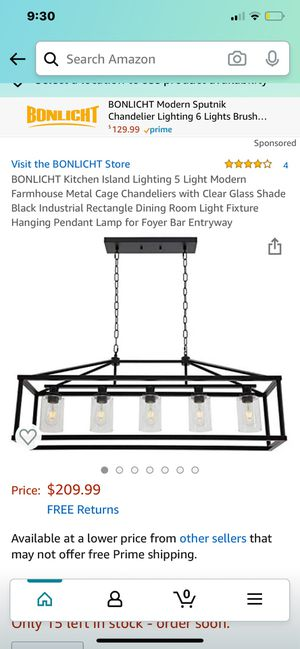 BONLICHT kitchen island lighting/5 lights modern farm house metal chandelier for Sale in Santa Ana, CA