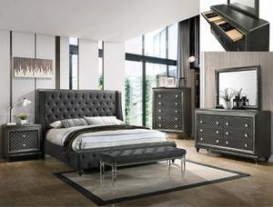 Bedroom set Queen bed +Nightstand +Dresser +Mirror. Mattress not included for Sale in Downey, CA